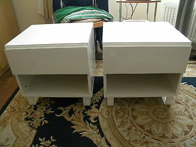 2xNEW(pair) OF WHITE HIGH QUALITY GLOSS 1-DRAWER BEDSIDE TABLESCHEST -E.LONDON