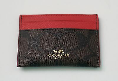 New Coach Signature  PVC Card Case Credit Card Holder Mini Wallet Red 63279