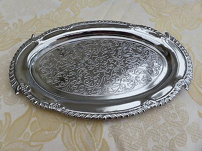 Vintage Silver Plated Oval Salver With Gadroon Rim    #091116005/009