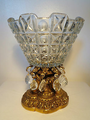CRYSTAL X O PATTERN COMPOTE with BRASS CHERUB BASE & DANGLING PRISMS