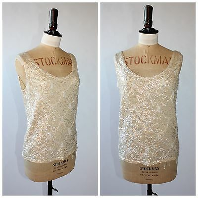 Vintage 50s 60s original beaded sequin shell top by Sunrise sz S 8 10 12