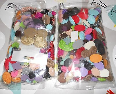 Two Large Bags of Plastic Decorative Flat Backed Flowers and Cameos for Crafts