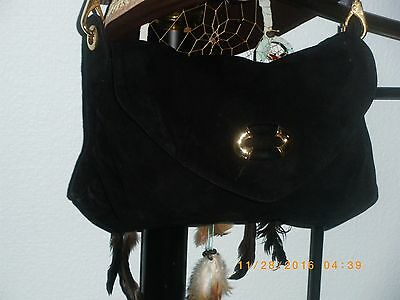 chained leather bag l k bennett /suede /black