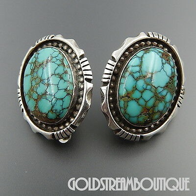 Sun West Silver Albuquerque Sterling Silver Spiderweb Turquoise Clip Earrings
