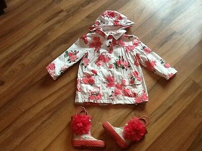 Mothercare girls rain coat age 11/2-2 and rain boots size 4