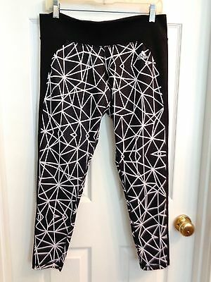 NEW Womens ADIDAS CLIMALITE size L Large white black running yoga tights capris