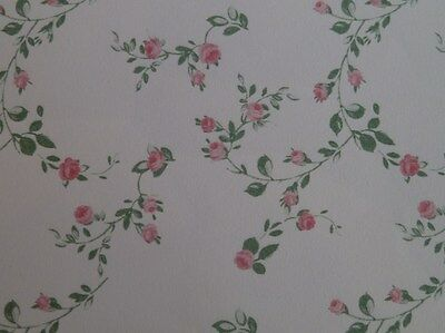 Dolls House Miniature 1:12 Scale Lounge Wallpaper X 1 Cream & Berry (P74)