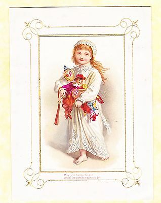 Victorian Christmas Card,girl With Christmas Toys, Marcus Ward