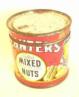 Vintage Planters Mr Peanut 4oz. Small Salted Mix Nuts Tin Can