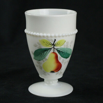 Westmoreland Beaded Edge Pear Footed Tumbler, Milk Glass White, Painted Fruit