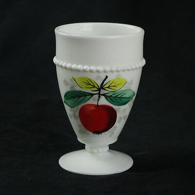 Westmoreland Beaded Edge Apple Footed Tumbler, Milk Glass White, Painted Fruit