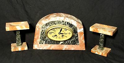 1920s ART DECO FRENCH MARBLE CLOCK SET in WORKING ORDER & in jolly nice condt