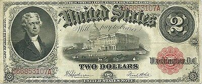 1917 $2 Large Size Red Seal Legal Tender Note ~ Jefferson & Capitol Type ~ Nice