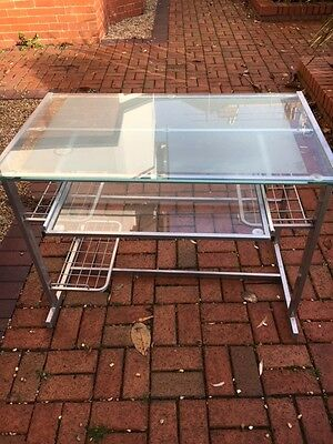 Glass computer desk with pull out drawer - Harrogate area