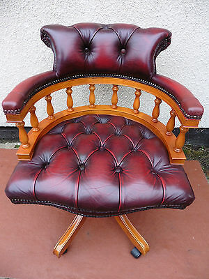 Leather Chesterfield Captains Office Arm Chair Adjustable,swivel, Tilt Action.