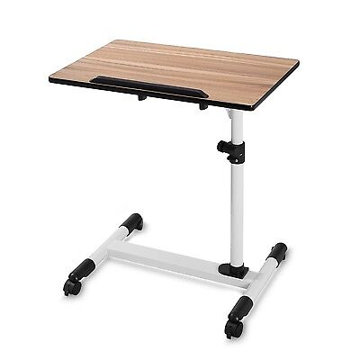 BUREI Standing Adjustable Hospital Bed Table with Wheels Wood Brown