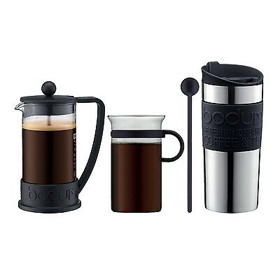 Bodum Coffee Set Black with Matching 3 cup Cafetiere (Brazil Coffee Press) Bo...