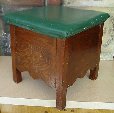 Vintage Wooden Stool With Sides, Scalloped Edging And Green Leatherette Seat