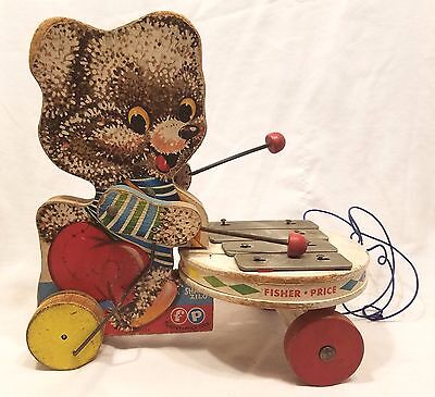 Vintage Fisher Price Shaggy Zilo Pull Toy Xylophone Teddy Bear
