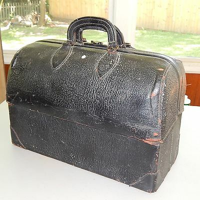 Antique Emdee by Schell Black Leather Doctors bag w/ Double Clutch Handle