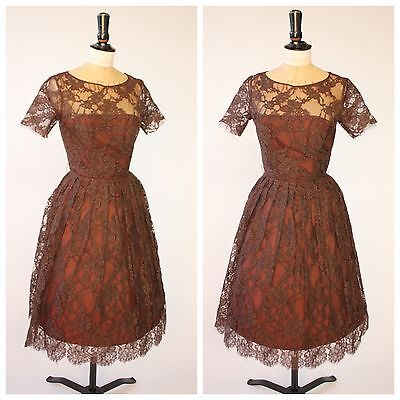 Vintage 50s original chocolate brown lace dress by Hildebrand 6 8 XS S