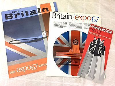 Expo 67 Lot- Great Britain Expo 67 Informational Booklet with Original Inserts