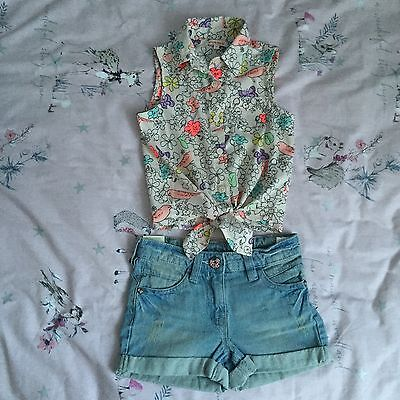 Girls Beautiful NEXT NEW Denim Shorts & Bluezoo Floral Top Outfit Set 4 years