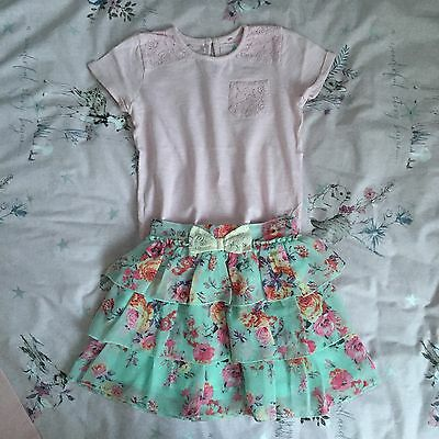 Girls Next Beautiful Pink Top & Floral Rara Skirt Set Outfit 3-4 4-5 years