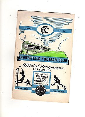 1959-60 CHESTERFIELD v ACCRINGTON STANLEY 26th December 1959 Division 3