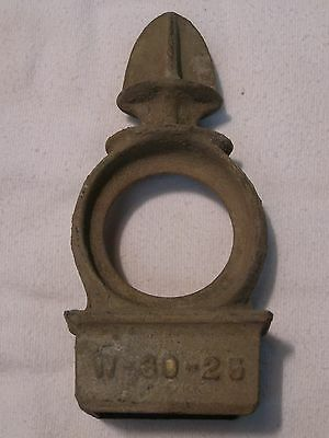 "Rare Heavy Vintage Rectangle Post Galvanized Cast Finial +6"" Tall 1-3/4"" x 2"""