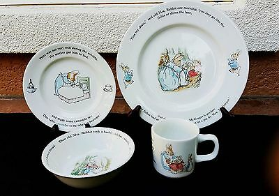 Wedgewood Peter Rabbit Child Place Setting Dishes (4 pieces) New!
