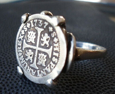 Genuine 1737 Silver Spanish 1/2 Realesa Treasure Cob Coin Sterling Ring Sz 71/2