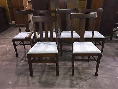 Beautiful Vintage Set Of 6 Antique Oak Dining Room Chairs