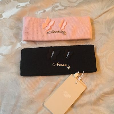 ARMANI BABY GIRLS PINK & NAVY CASHMERE BUTTERFLY HEADBANDS Size S (3-9 Months)