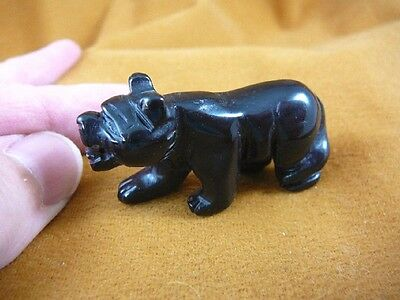 (Y-PANT-565) little BLACK Onyx PANTHER stone LEOPARD wild cat GEMSTONE carving