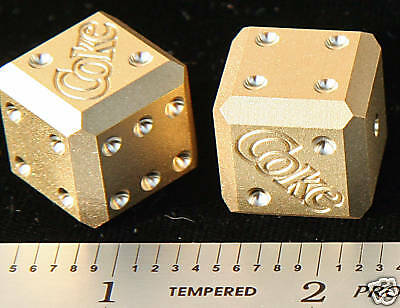 """¾"""" Big Solid Brass COKE Advertising Dice Great Condition MUCH Heavier than looks"""