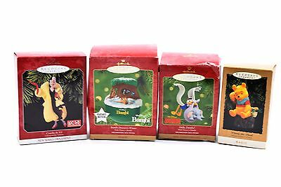 Hallmark Keepsake Ornament Disney Winnie Cruella Dumbo Bambi Lot - 4 NEW