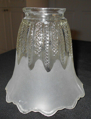 """Antique Satin Etched To Clear Cross-Hatch Pattern Lamp/light Shade~2 1/8"""" Fitter"""