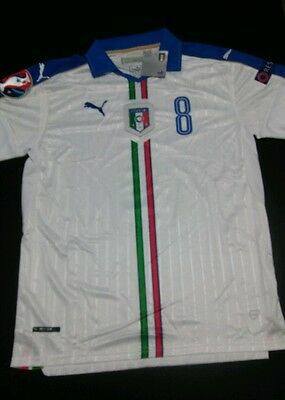 2016 ITALY Away Jersey #8 FLORENZI Size XL EURO CUP PATCHES NWT