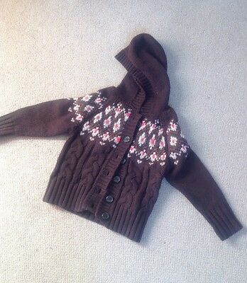 Okaidi Wool Hooded Cardigan, Age 4, Brown, French Designer, Exc Condition!