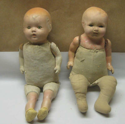 Two Antique Dolls Composition/cloth bodies- Ideal, Madame Hendren for restoring