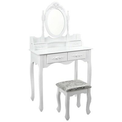 NEW Elegant 4 Storage Jewellery Drawer Dressing Table White with Mirror, Stool