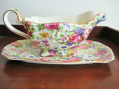 Vintage Royal Winton Summertime Chintz Gravy Boat & Underplate Gold Trim