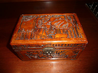 Vintage Asian Hand Carved Camphor Timber Box, Jewellery, Small, Lined