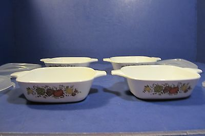 Corning Ware P-41-B 1 3/4 Cup Spice Of Life Casserole Dishes W/Plastic Lids - 4