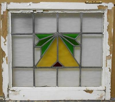 """OLD ENGLISH LEADED STAINED GLASS WINDOW Abstract Design 21.5"""" x 19.25"""""""