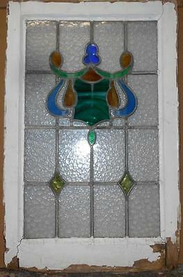 "LARGE OLD ENGLISH LEADED STAINED GLASS WINDOW Shield Swag 20.25"" x 31.5"""