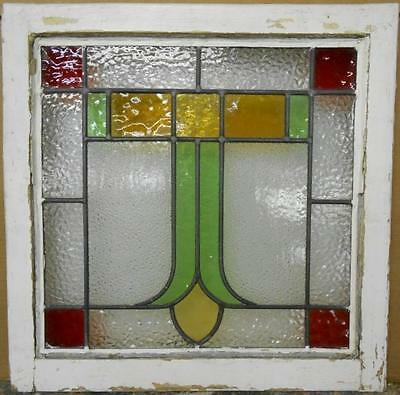 "OLD ENGLISH LEADED STAINED GLASS WINDOW Nice Geometric 20.25"" x 20.5"""