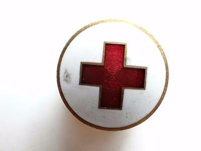 Red Cross Porcelain Lapel Pin Button Screw Back   T8-9