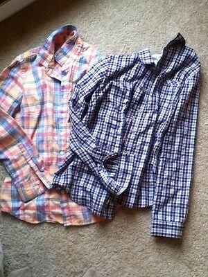Small Womens Eddie Bauer Shirts Long Sleeve Flannel + Lifhtweight Lot Of 2
